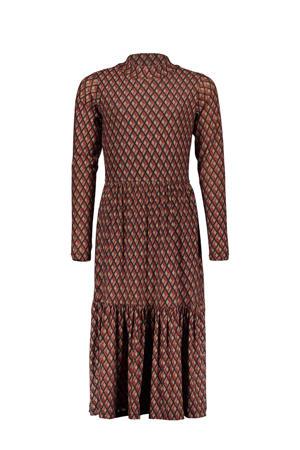 maxi jurk You & Me met all over print bruin/rood/zwart