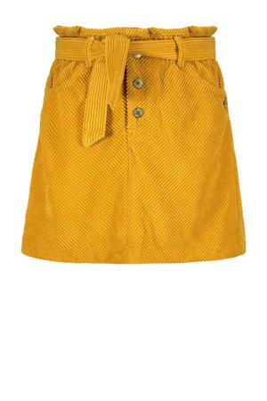 corduroy rok Go Crazy met textuur geel