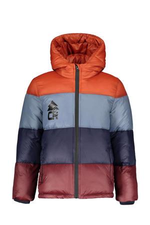 gestreepte gewatteerde winterjas Boy donkerblauw/blauw/bruin