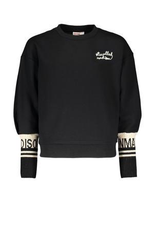 sweater Momo met tekst zwart