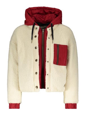 teddy winterjas Sporty Furry offwhite/rood