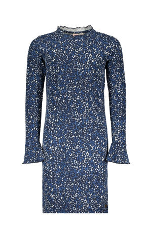 jurk Spotty Me met panterprint blauw/lichtblauw