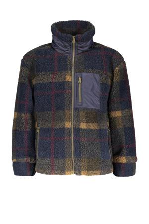 geruite teddy winterjas Storm donkerblauw/okergeel