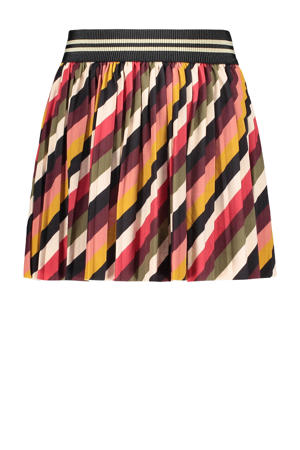 gestreepte rok bruin/multicolor