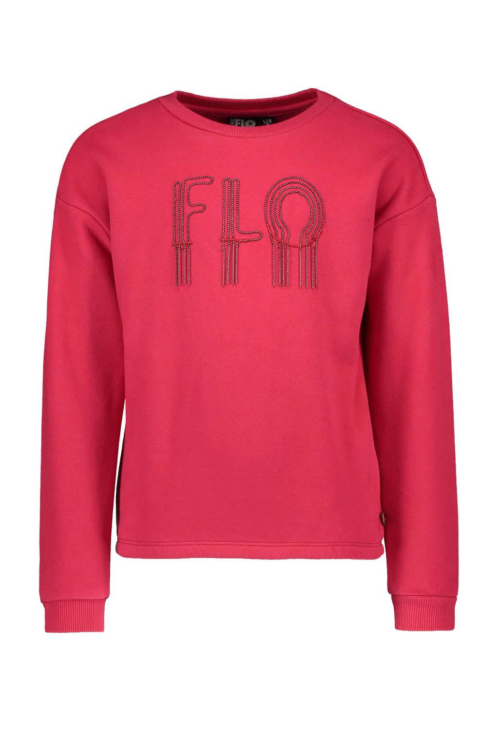 Like Flo sweater met logo en kraaltjes fuchsia, Fuchsia