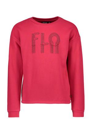 sweater met logo en kraaltjes fuchsia