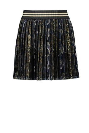 fluwelen rok met slangenprint donkergroen/ecru