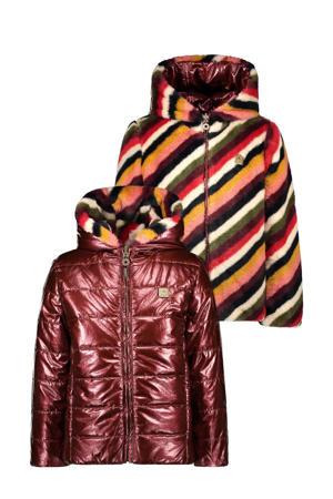 gestreepte omkeerbare imitatiebont gewatteerde jas bordeaux/multicolor