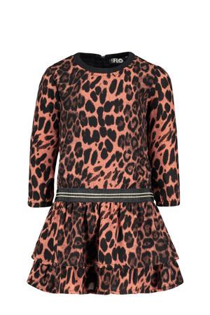 jurk met dierenprint oudroze/zwart