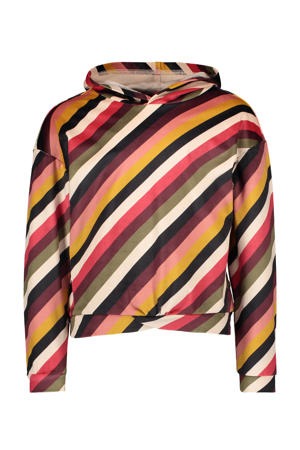 gestreepte fluwelen hoodie bruin/multicolor