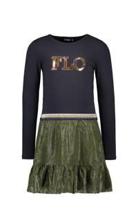 Like Flo jurk met slangenprint en pailletten marine/groen, Marine/groen