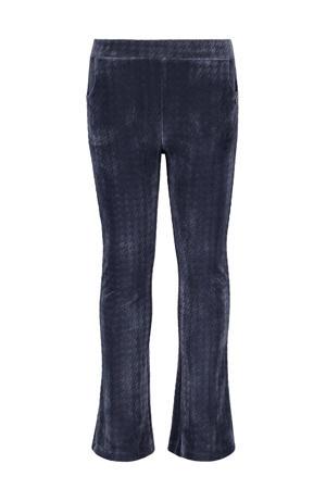 fluwelen flared broek met pied-de-poule blauw