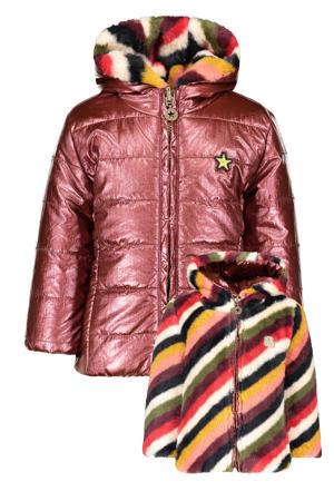 baby gestreepte reversible imitatiebont gewatteerde winterjas bordeaux/multicolor