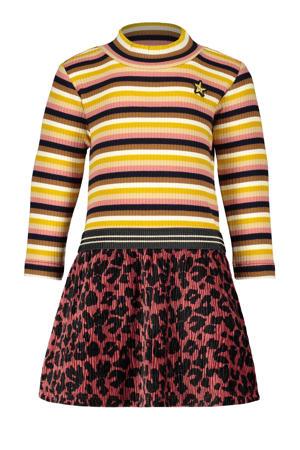gestreepte ribgebreide jurk roestbruin/geel