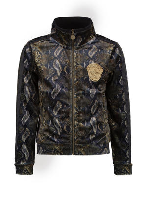 velours jasje met slangenprint en contrastbies groen/bruin