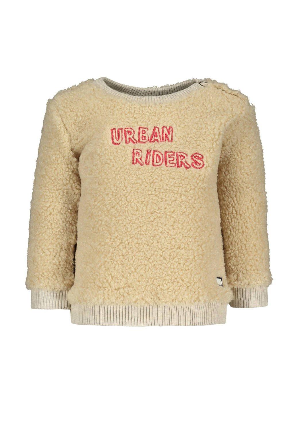 Like Flo baby teddy sweater met tekst ecru, Ecru