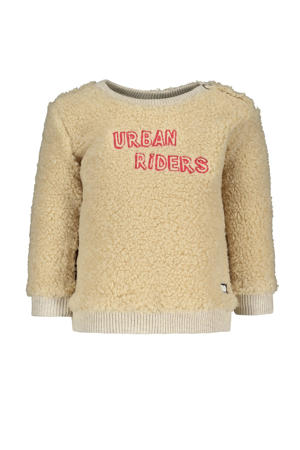 baby teddy sweater met tekst ecru