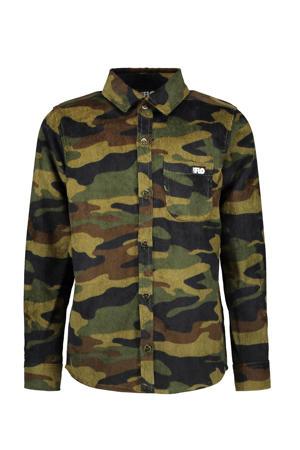 corduroy overhemd met camouflageprint groen/lichtgroen