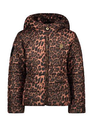 gewatteerde jas met panterprint bruin/zwart