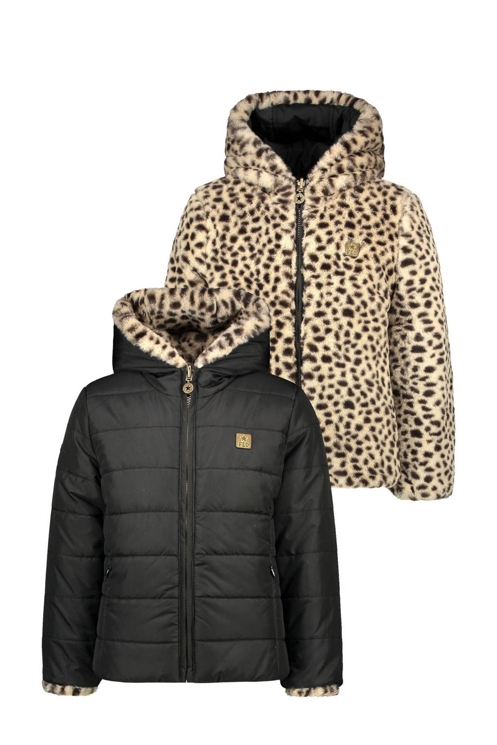 Like Flo omkeerbare imitatiebont gewatteerde jas met panterprint zwart/bruin, Zwart/bruin
