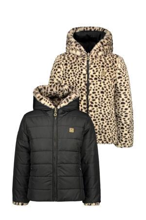 omkeerbare imitatiebont gewatteerde jas met panterprint zwart/bruin