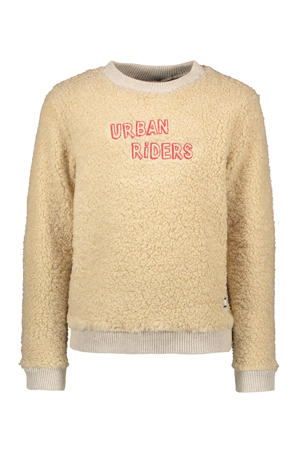 teddy sweater met tekst ecru