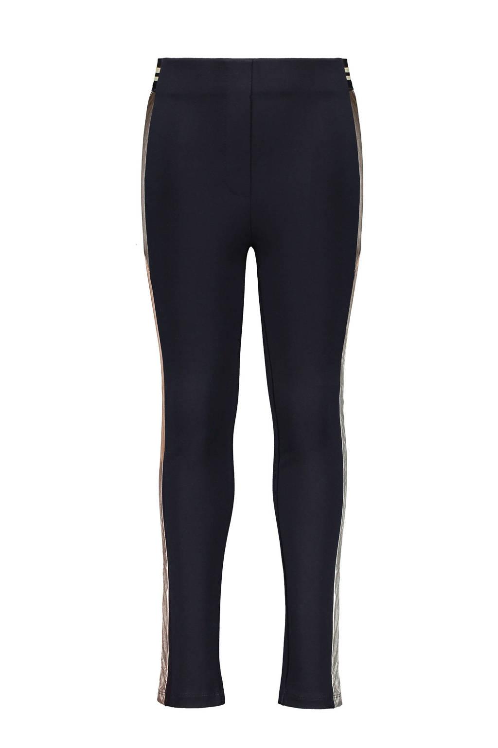 Like Flo high waist slim fit broek met zijstreep donkerblauw/goud, Donkerblauw/goud