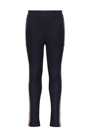 high waist slim fit broek met zijstreep donkerblauw/goud