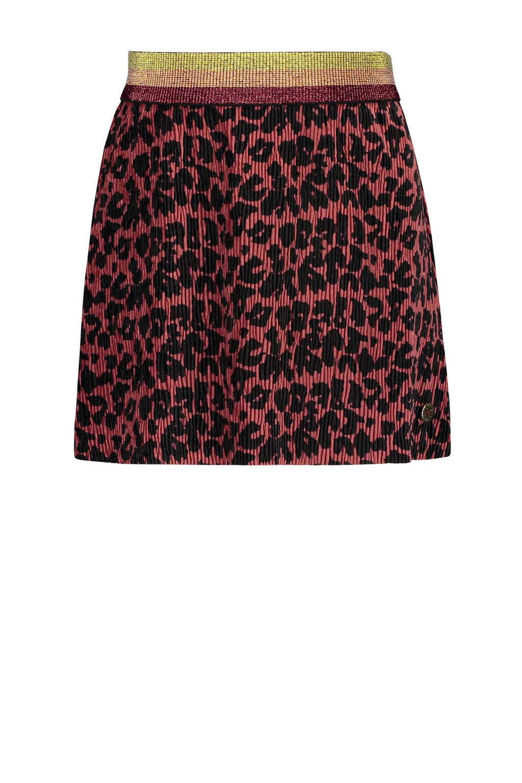 Like Flo fluwelen rok met panterprint en textuur bruin/zwart, Bruin/zwart