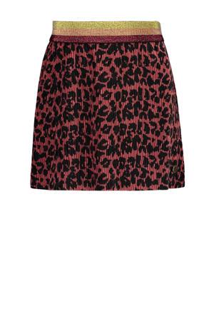 fluwelen rok met panterprint en textuur bruin/zwart