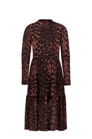 maxi jurk met panterprint en volant oudroze/zwart