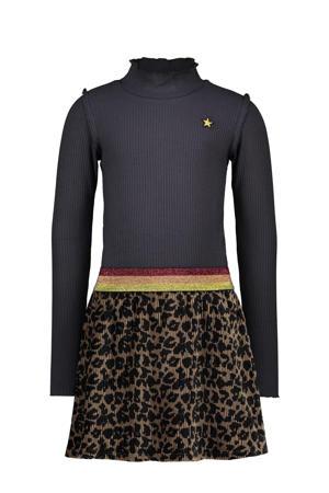 jurk met dierenprint en ruches marine/bruin