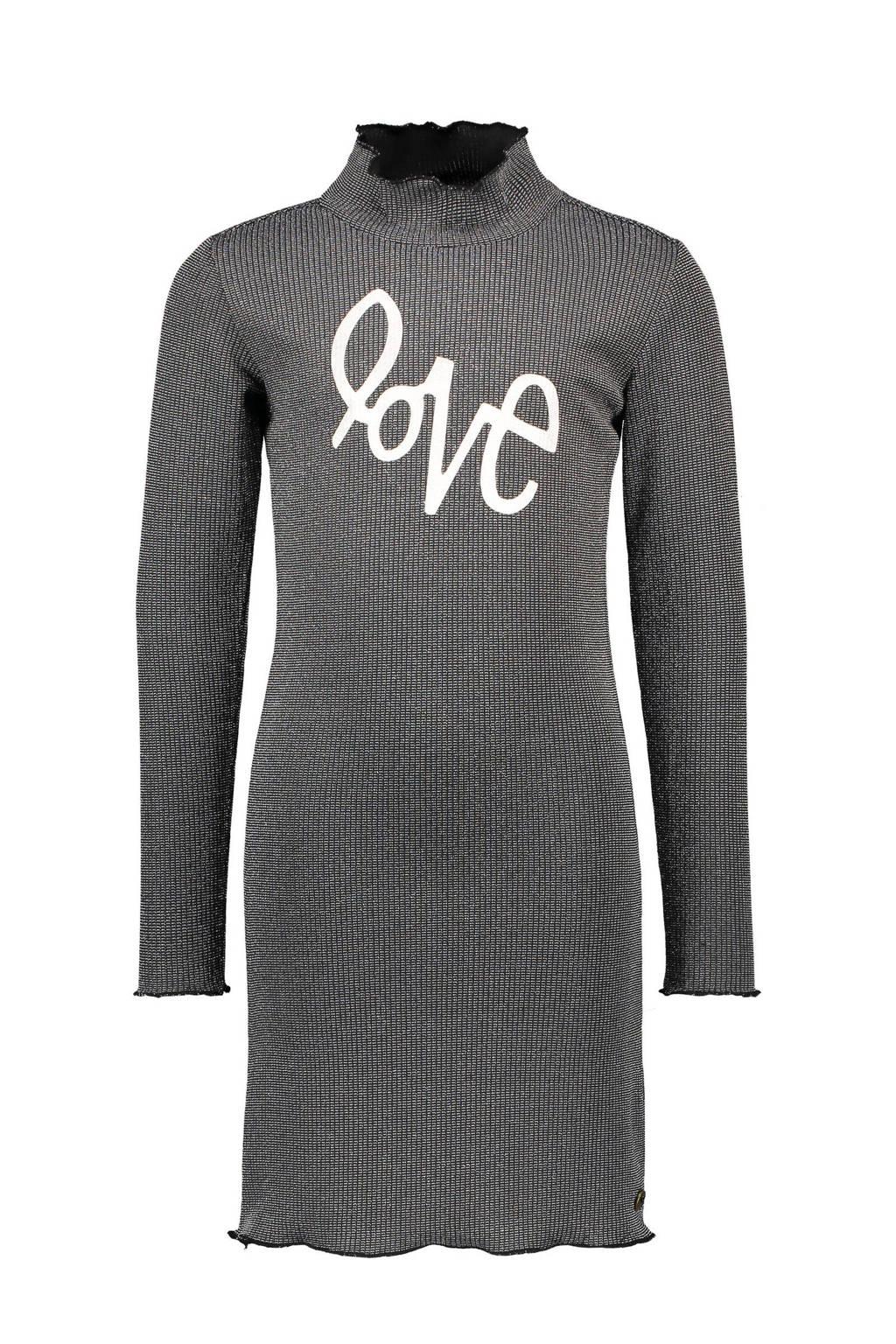 Like Flo jurk met tekst en textuur zwart/zilver, Zwart/zilver