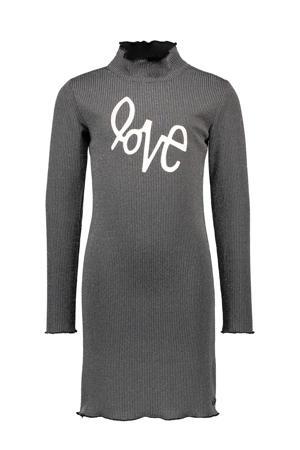 jurk met tekst en textuur zwart/zilver