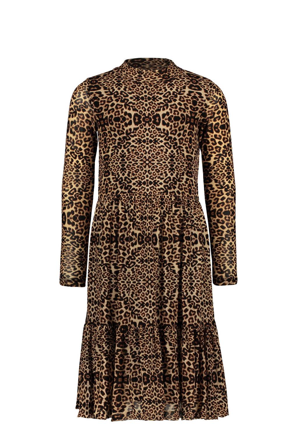 Like Flo semi-transparante jurk met panterprint en volant zand/bruin, Zand/bruin