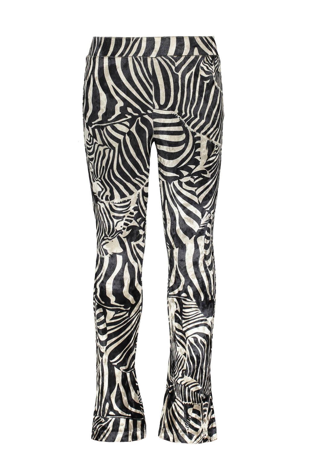 Like Flo fluwelen flared broek met zebraprint offwhite/zwart, Offwhite/zwart