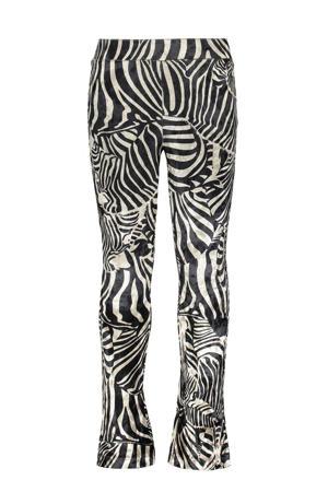 fluwelen flared broek met zebraprint offwhite/zwart