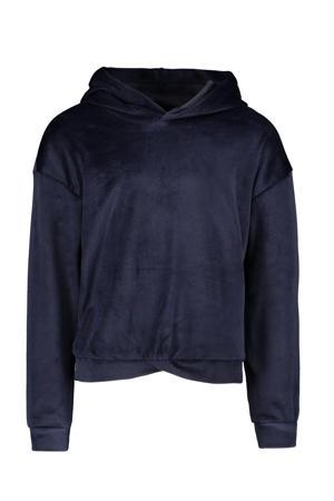 fluwelen hoodie marine