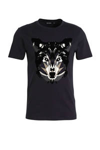 Antony Morato T-shirt met printopdruk donkerblauw/zwart/beige, Donkerblauw/zwart/beige