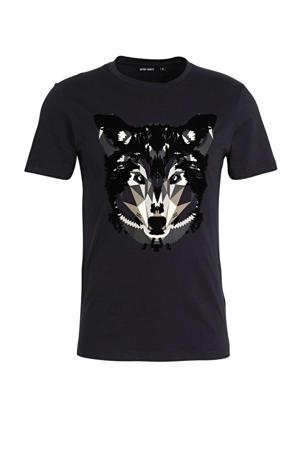 T-shirt met printopdruk donkerblauw/zwart/beige