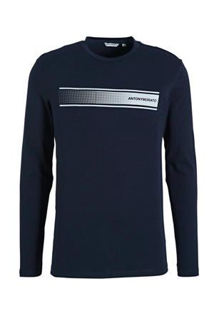 T-shirt met logo donkerblauw/wit