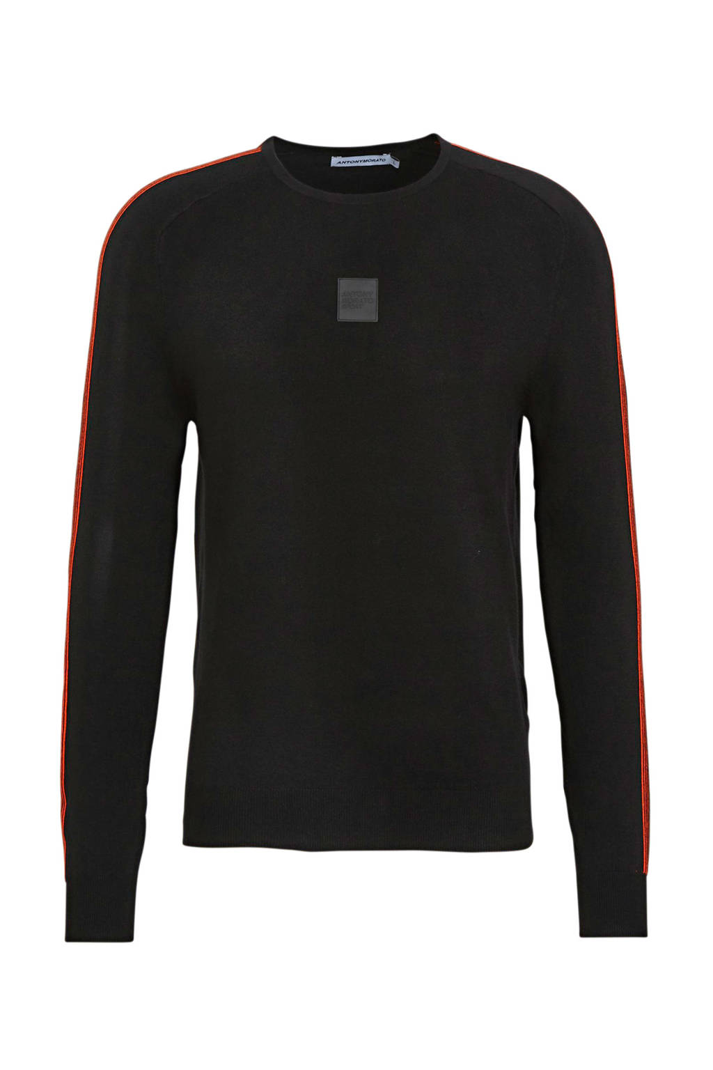 Antony Morato trui met contrastbies zwart, Zwart