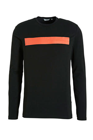 T-shirt met logo zwart/oranje