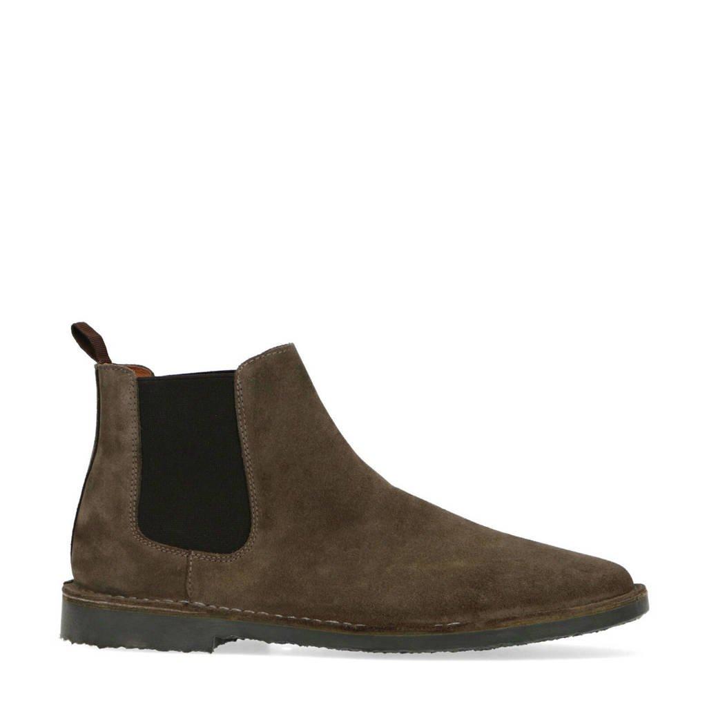 Sacha   suède chelsea boots kaki, Kaki/donkergroen