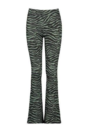 flared broek Philou met panterprint groen/grijs