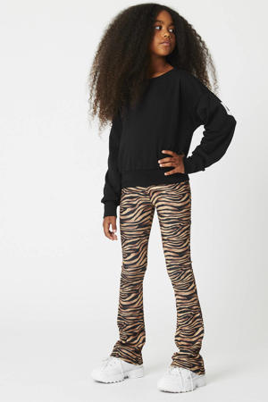 flared broek Philou met all over print bruin