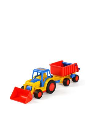 Wader Basics tractor met shovel en trailer