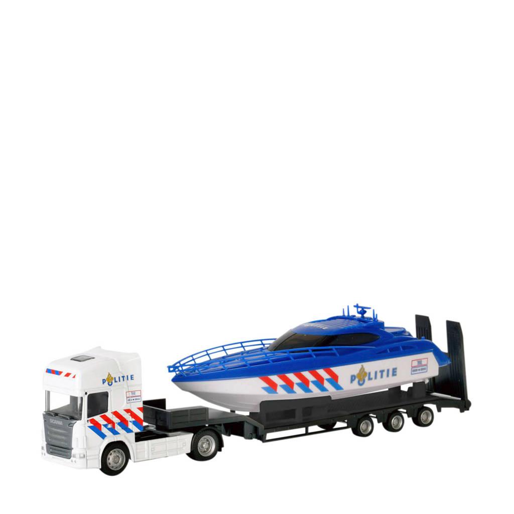 Polesie  Die-cast vrachtwagen met boot - Politie