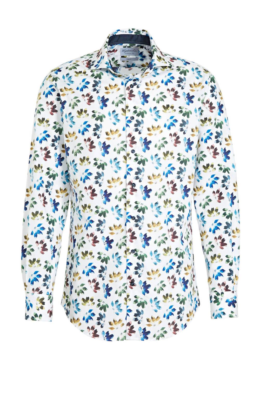 Michaelis gebloemd slim fit overhemd blauw/wit/kaki, Blauw/wit/kaki