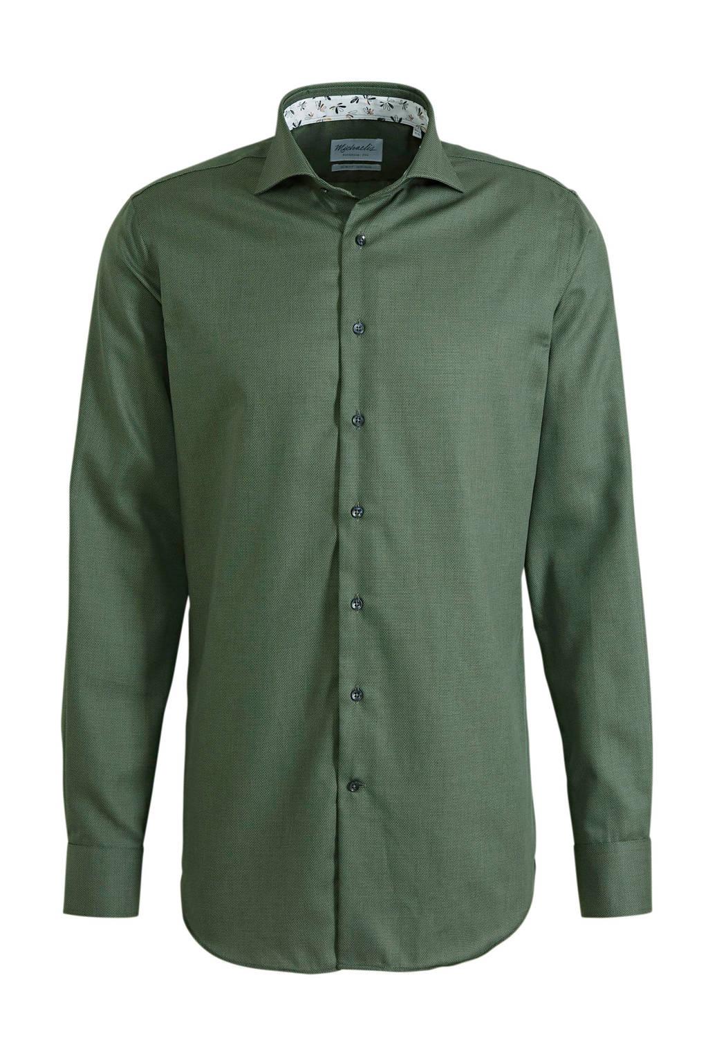 Michaelis gemêleerd slim fit overhemd met mouwlengte 7 groen, Groen